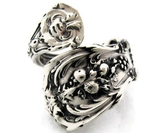 Francis 1 Sterling Silver Spoon Ring Size 5-8 Demitasse Wrapped