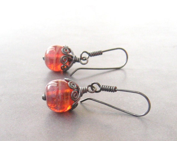 dangle earrings with blood orange lampwork beads and sterling silver ear wires