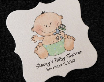 Personalized Baby Shower Favor Tags, baby boy with green diaper and rattle, set of 20