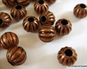 50 Antique Copper Ribbed Bead 6mm NF Pumpkin 2mm Hole - 50 pc - M7011-AC50