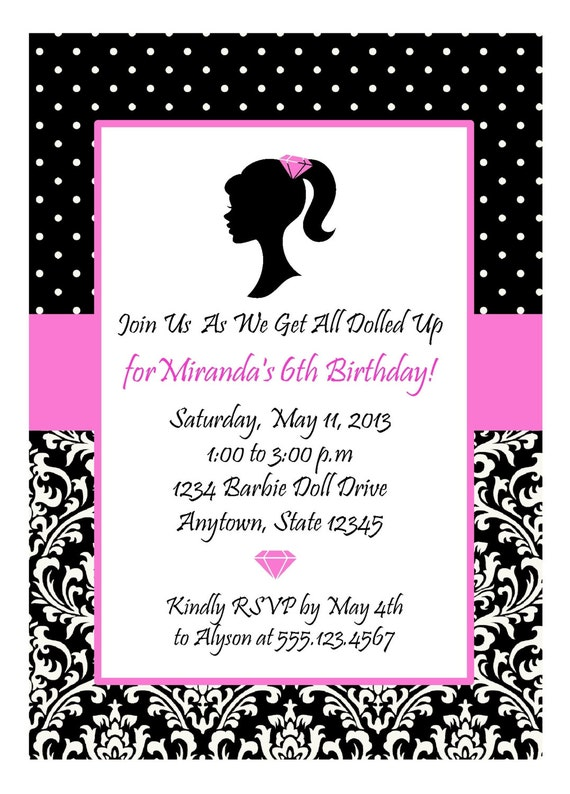 glamour girl diva party hot pink and black invitation