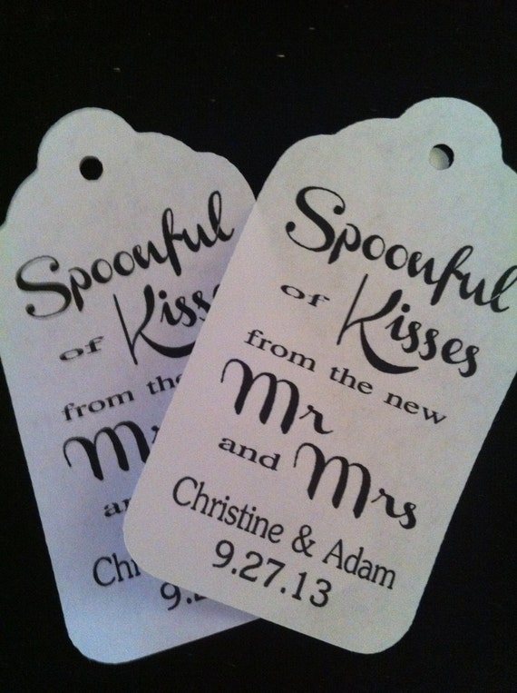 Spoonful of Kisses from the New Mr and Mrs Personalized Wedding Favor Tag Choose your Quantity