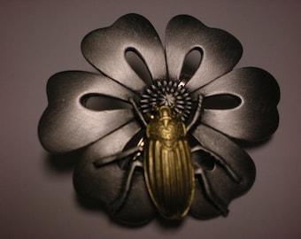 jj pewter pin FLOWER W/ BEATLE BEAUTIFUL