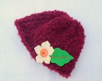 Crochet Doll Hat Soft Maroon Hat with felt flower, Fits 18 inch doll