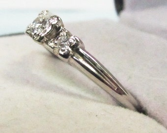Marriage Material Vintage 1940s White Gold and Diamond Engagement Ring