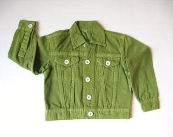 Kid's Denim Jacket, Long Sleeves, Cotton Coat, Fall Jacket, Blank Clothing, Hand Dyed, Avocado Green, Unisex Coat,  Baby or Toddler