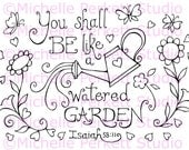 Digital Stamp Image Scripture Garden Flowers Bible Verse Cardmaking Scrapbooking Stamping
