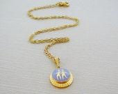 Vintage .. Necklace, Charm, Chain Gemini Twins Horoscope Goldtone Purple