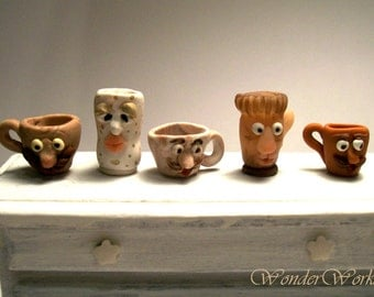 """One Mini Mug Stach Face Cup, Dollhouse Miniature Pottery, Faux Stoneware, Dolly Dining,  1"""" Scale Kitchenware"""