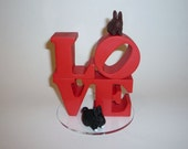Wedding cake topper - Custom love topper with bunnies