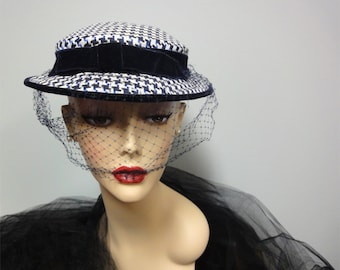 1950s Houndstooth Check Hat Navy Blue, White Silk, Seabrook New York, Netting