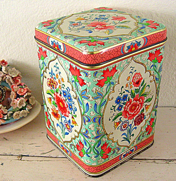 daher holland vintage canister set floral by somethingcharming