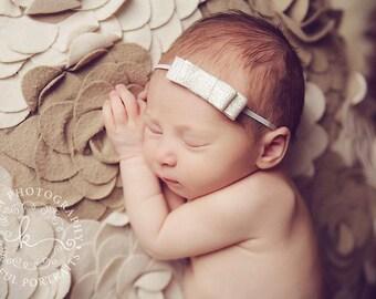 Scintiller - Silver Tweed Bow Headband - Baby Infant Newborn Girls Adults - Photo Prop - Wedding Baptism