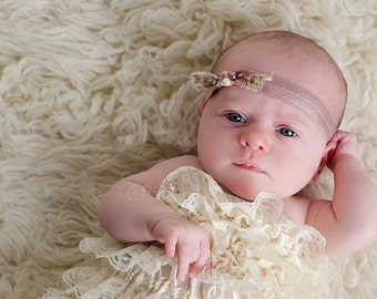Emme - Vintage Inspired - Beige Typography Pearls Headband - Tie Mocha Pink - Newborn Infant Baby Girl Toddler Adult