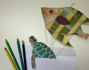 DIY Printable PDF Sea Turtle and Fish Card, Cute Animals, For Kids, Green, Yellow, Paper Puppet