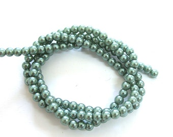Dark Green Pearlish 4mm Round Beads, Sold per 21 inches Strand, about 150 pc, 1059-61