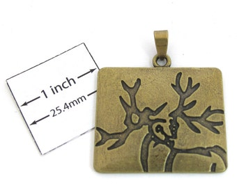 Antiqued Brass Metal, Stamped Deer Design, 36mm x 30mm Rectangular Pendant, 1091-08
