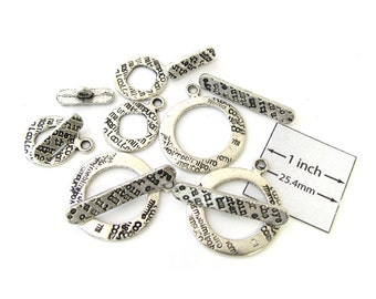 Antiqued Silver Metal Text Stamped Assorted Toggle Clasps, Set of 6 pc, 1031-36