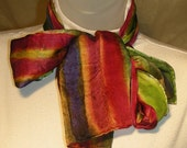 "Silk Satin Scarf 8"" x 54"" Jewel Tone Stripes"