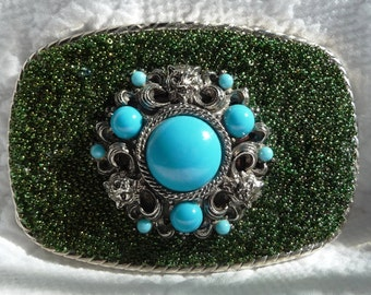 Green Lion Belt Buckle - Silver Metal - Turquoise Blue - Altered Vintage Jewelry - Womens Accessory - Custom Handcrafted OOAK -