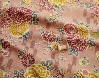 3233 - Japanese Kimono Chrysanthemum Floral Slubbed Cotton Fabric - 58 Inch (Width) x 1/2 Yard (Length)