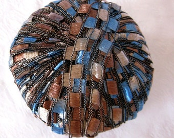 Berlini Ladder Ribbon Yarn Maxi,  trellis yarn, blue tan black yarn, BLUE SADDLE 60