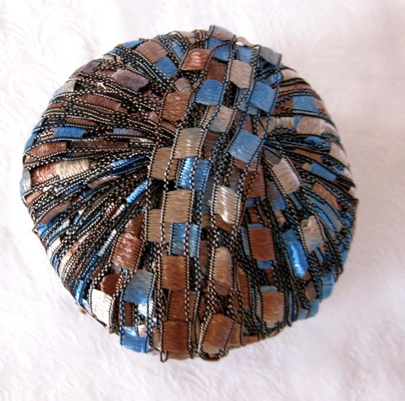 Ribbon Yarn : Berlini Ladder Ribbon Yarn Maxi, trellis yarn, blue tan black yarn ...