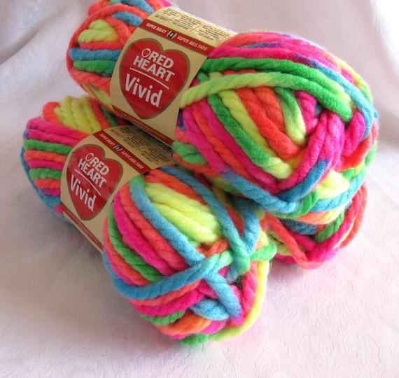 Bulky Yarn : Red Heart VIVID yarn, NEON MIX multicolored super bulky yarn, rainbow ...