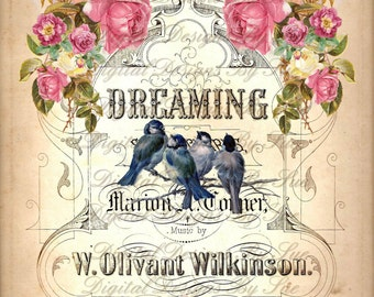 Instant Download - DREAMING -  Collage Sheet - Printable Download  - Scrapbook Romantic