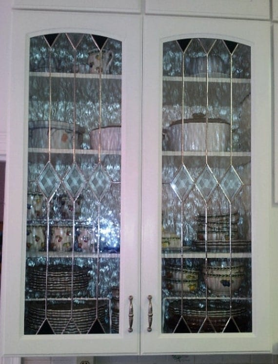 Stained glass cabinet inserts clear elegance for Beveled glass kitchen cabinets