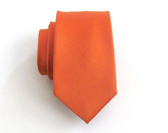 Skinny Tie - Orange Tonal Striped Silk Necktie