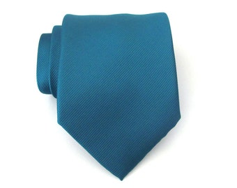 Mens Tie Teal Blue Tonal Stripes Silk Necktie