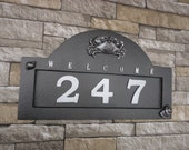 Nautical Crab and Seashell House Numbers Coastal Address Plaque