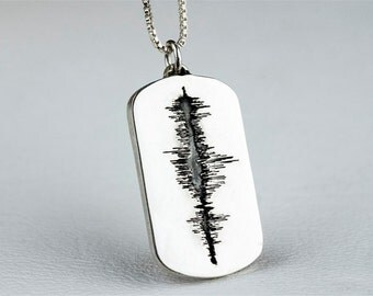 Sound Wave Necklace Jewelry Soundwave Personalized Custom Sterling Silver Dog Tag Style