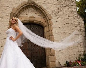 Custom Handmade 1, 2, or 3 Tier Cathedral Veil With A Cut or Raw Edge Bridal Wedding Starting At Only 39.99