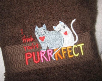 Hand Towel with Purrring Cats