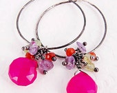 Dangle Earrings Sterling Silver Hoops Gemstone Hot Pink Tropical Jewelry Gifts for Her Under 35