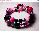 STORE CLOSING SALE Pink, Purple and Black - Memory Wire Bracelet