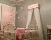 CRIB Canopy Crown BED Teester FREE Monogram Upholstered Silver SaLe Pink Silver