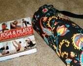 Yoga Mat Bag / Bright Floral Yoga Mat Bag / Black Yoga Mat Bag / Yoga Tote / Pilates Mat Bag