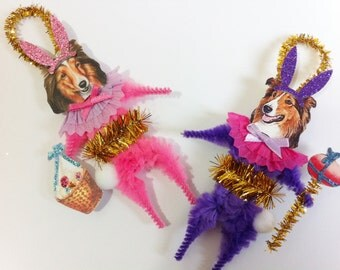 Shetland Sheepdog EASTER BUNNY vintage style chenille ORNAMENTS set of 2 feather tree