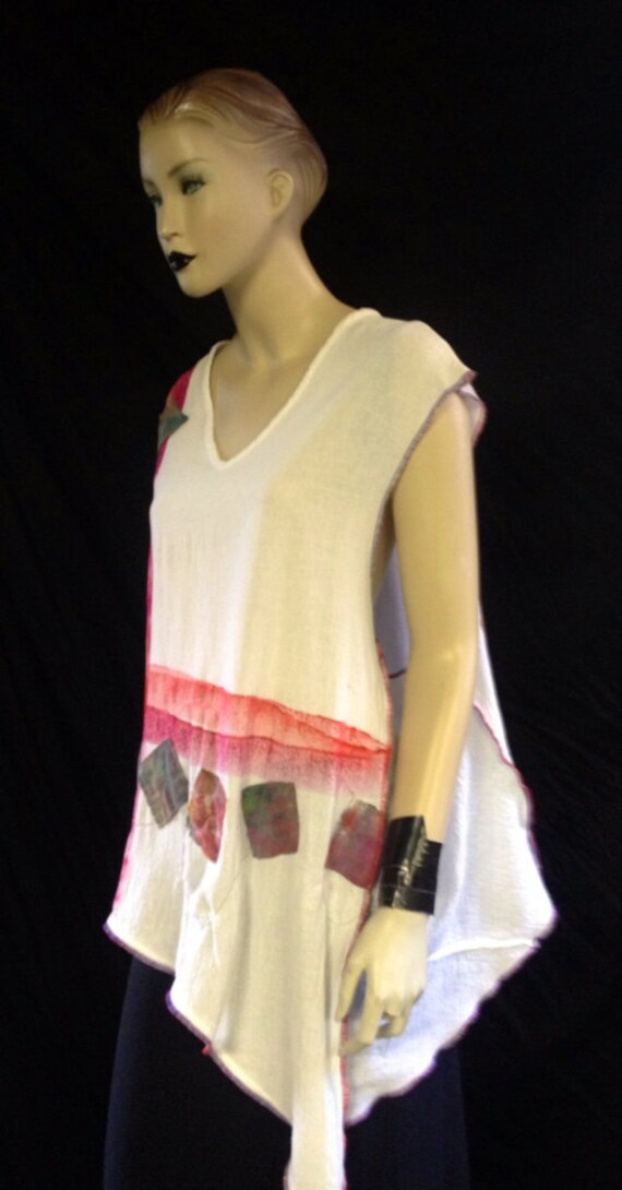 CUSTOM FOR DeLANA-White Asymetric Hand Painted Red Purple Stripe Applique Sewn Triangle Square Cotton Gauze Sleeveless Top Tunic