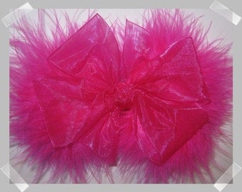 Medium Size Sheer Organza and Marabou Hair Bow in Electric Pink