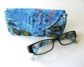 Blue Peacock Feathers Reading Glasses Case Made to Order