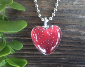 Glass Heart-Red and Silver