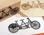 Tandem Bicycle Rubber Stamp  - LARGE - Handmade by BlossomStamps - BlossomStamps