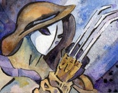 Vengeful Vega - Street Fighter Watercolor Reproduction Print by Jen Tracy  - Blue Video Game Art
