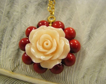 Necklace coral Pendant with rose. 16 carat gold necklace adorned with red coral and Rose
