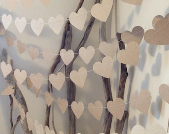 10 Metres Large Natural Shabby Chic Heart Garland - rustic country chic, beach wedding, party decoration, baby shower decoration, photo prop