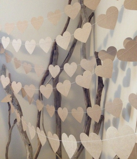 3 metres large natural shabby chic heart garland home decor for Heart decorations for the home